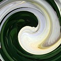 White And Green Swirls by Sholeh Mesbah