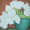 White Tulilps In Blue Vase by Terri Meyers