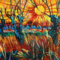 Willows At Sunset - Study Of Vincent Van Gogh by Karon Melillo DeVega