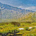 Wind Turbine Farm Palm Springs Ca by David Zanzinger