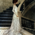 Woman In Lace Gown On Staircase by Jill Battaglia