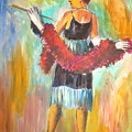 Woman With Boa by Murray Keshner
