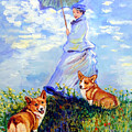Woman With Parasol And Corgis After Monet by Lyn Cook