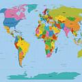 World Map Bright by Michael Tompsett