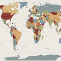 World Map Muted Colors by Michael Tompsett