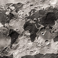 World Map On The Moon's Surface by Michael Tompsett