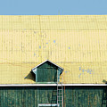 Yellow Barn Roof Workers-3 by Steve Somerville