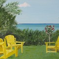 Yellow Chairs At Blue Mountain Beach by John Terry