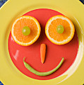 Yellow Plate With Food Face by Garry Gay