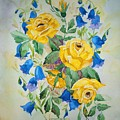 Yellow Roses And Blue Bells by Irenemaria Amoroso