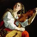 Young Woman With A Violin by Orazio Gentileschi