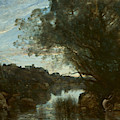 Souvenir Of The Environs Of Lake Nemi by Jean-Baptiste-Camille Corot