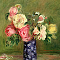 Roses In A Blue Vase by Pierre Auguste Renoir