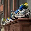 Boston Marathon Sneakers Window Display by Joann Vitali