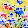 Modern Floral Art Butterfly Cornflowers by Ginette Callaway