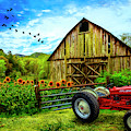 Tractor At The Farm by Debra and Dave Vanderlaan