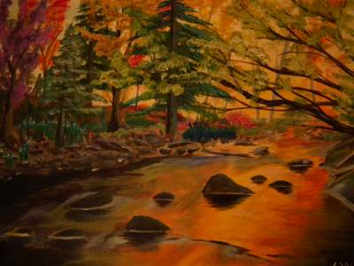 Painted Fall Leaves And Landscapes