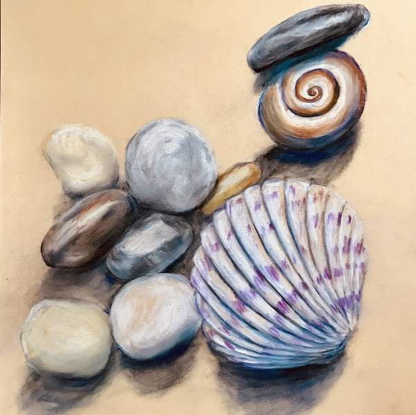 Seashells and other treasures from the beach in Traditional Mediums