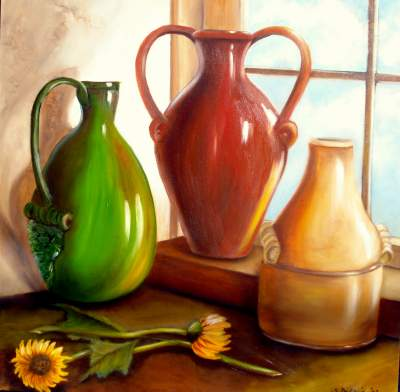 Online Contest Still Life With Pottery Vases And Urns