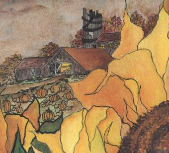 WATERCOLOR Halloween or October Scenery