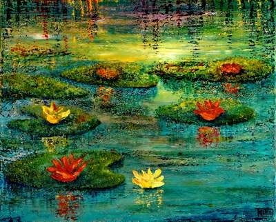 WATERLILIES -acrylic and oil paintings