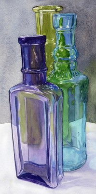 ONLINE Watercolor Workshop - Painting Glass in Watercolor