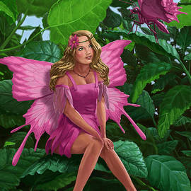 Martin Davey - Pink pretty Fairy on leaf with pink Butterfly