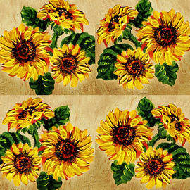 Irina Sztukowski - Sunflowers Pattern Country Field On Wooden Board