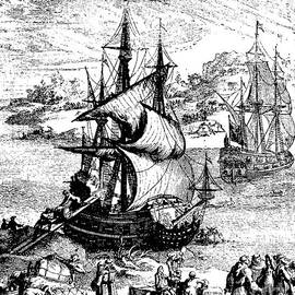 French School - The stranding of the Aimable, Matagorda Bay, Texas, 1685