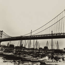 Bill Cannon - Ben Franklin Bridge from the Marina in Black and White.