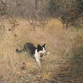 Cat Bird Hunting  - Bruno Liljefors