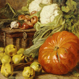Detail of A Still Life with a Basket, Pears, Onions, Cauliflowers, Cabbages, Garlic and a Pumpkin - Eugene Claude