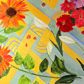 Sandy McIntire - Looking Down on the Flowers on the Tile Floor