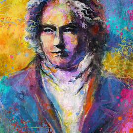 Svetlana Novikova - Ludwig Van Beethoven portrait Musical Pop Art painting print