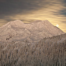 Ed Book - Mount Rainier full moonrise winter
