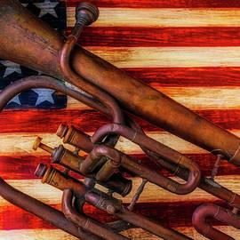 Old Horn On American Flag - Garry Gay