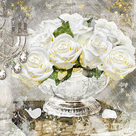 Mindy Sommers - Shabby White Roses with Gold Glitter