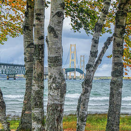 Randall Nyhof - The Mackinaw Bridge by the Straits of Mackinac in Autumn with Birch Trees