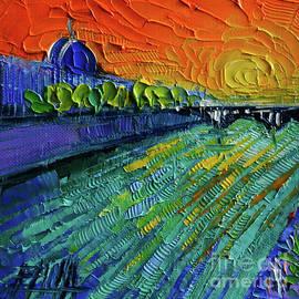 Mona Edulesco - THE RHONE RIVER palette knife oil painting by Mona Edulesco