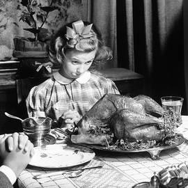 Vintage Photo depicting Thanksgiving Dinner - American School