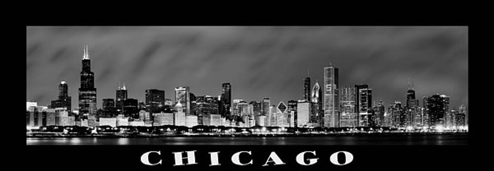 Sebastian Musial - Chicago Skyline at Night in Black and White
