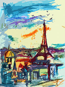 Ginette Callaway - Abstract Under Paris Skies Mixed Media Art