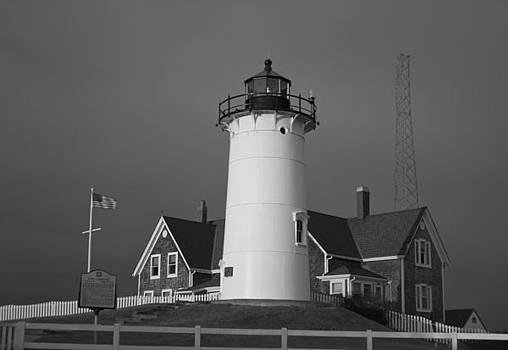 Amazing Jules - Black and White Nobska Point Lighthouse