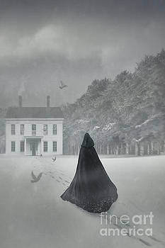 Sandra Cunningham - Cloacked figure walking in the snow with house in distance