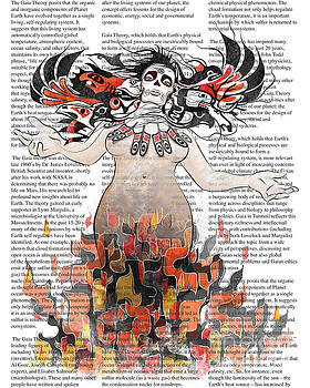Sassan Filsoof - Day of the Dead Gaia in Flames with Text Illustration print