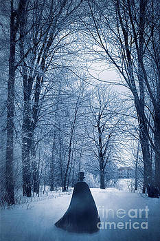 Sandra Cunningham - Mysterious man with cape walking through the snow