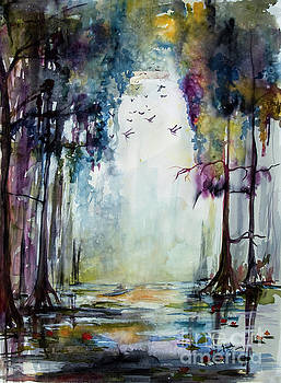 Ginette Callaway - Wetland Morning Trees Water and Birds