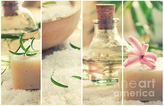 Mythja  Photography - Spa collage with bath salt and flower