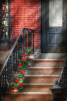 Mike Savad - Spring - Porch - Hoboken NJ - Geraniums on stairs