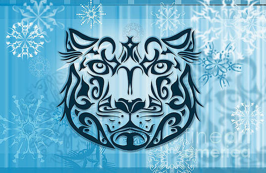 Sassan Filsoof - Tribal tattoo design illustration poster of Snow Leopard